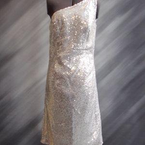 NEW - Silver sequins one shoulder Dress